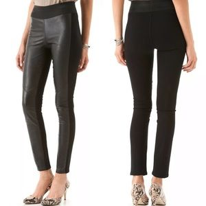 Paige Paloma Leather Front Pull On Black Leggings